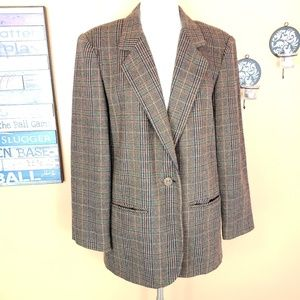 Vintage wool Sag Harbor plaid checked blazer